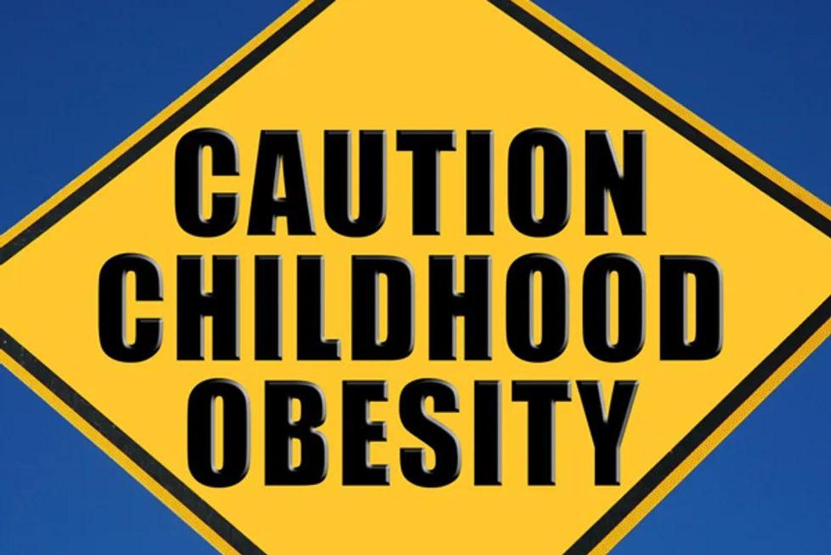 caution childhood obesity sign