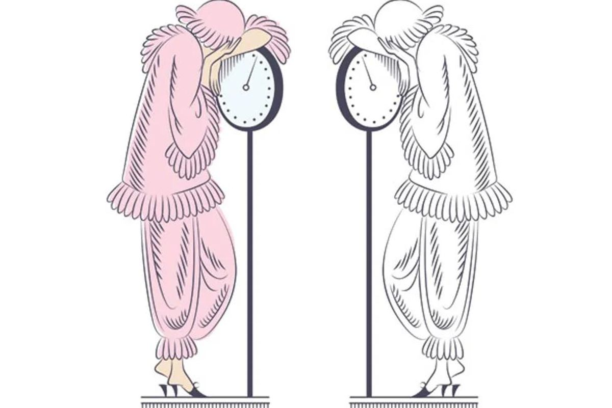 drawing of epressed looking women standing on scales