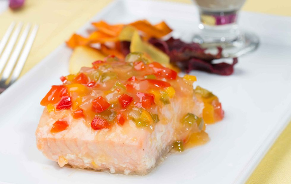 Tropical Salmon With Sweet Vegetable Letcho and Eggplant Dip