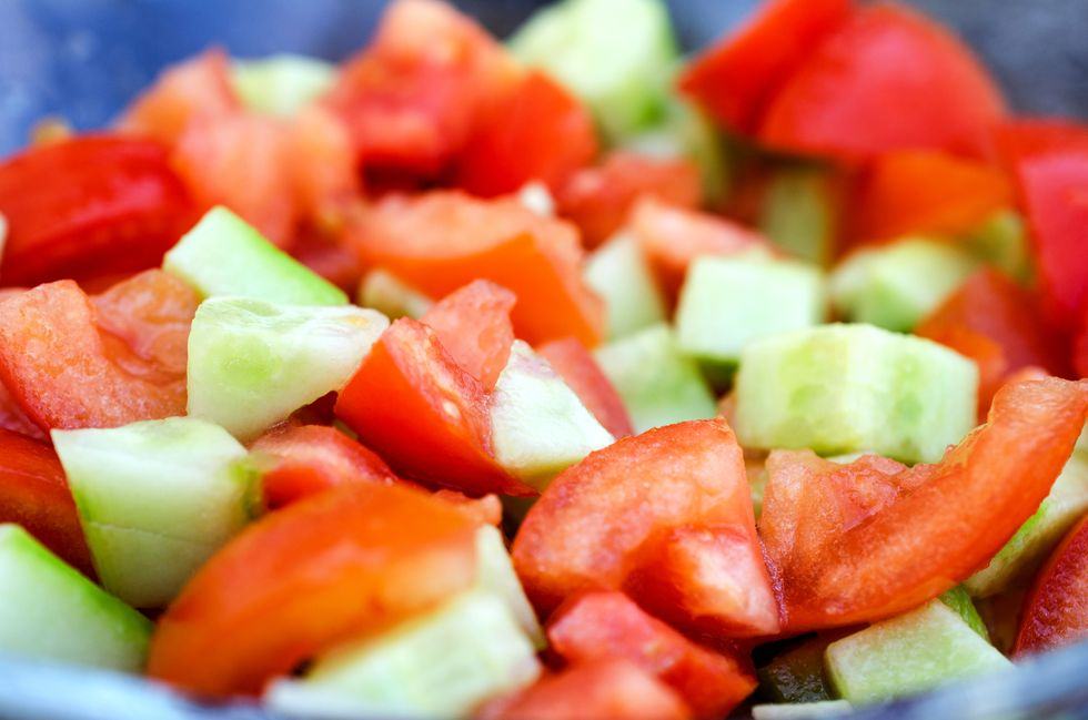 Plate Salad With Tomatoes and Cucumbers