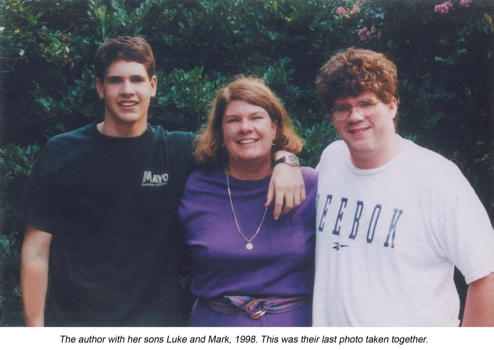 The author with her sons Luke and Mark, 1998. This was their last photo taken together.