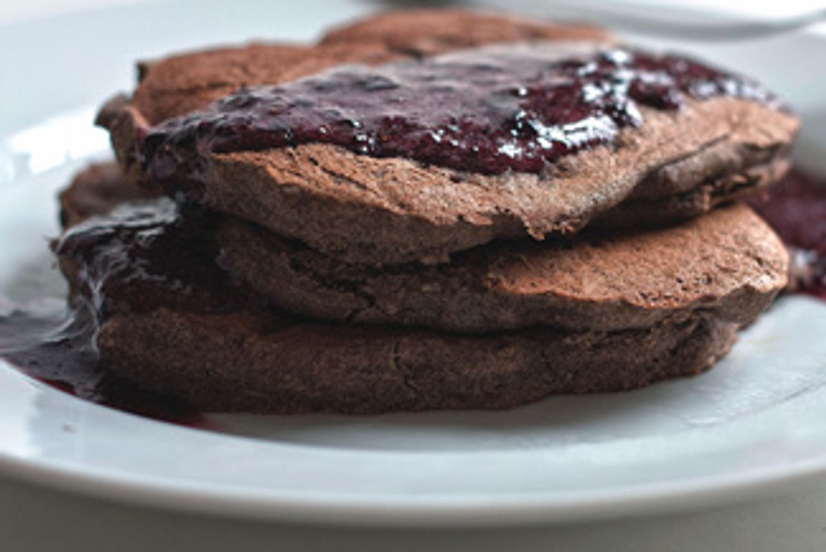Buckwheat Banana Pancakes With Blueberry Sauce