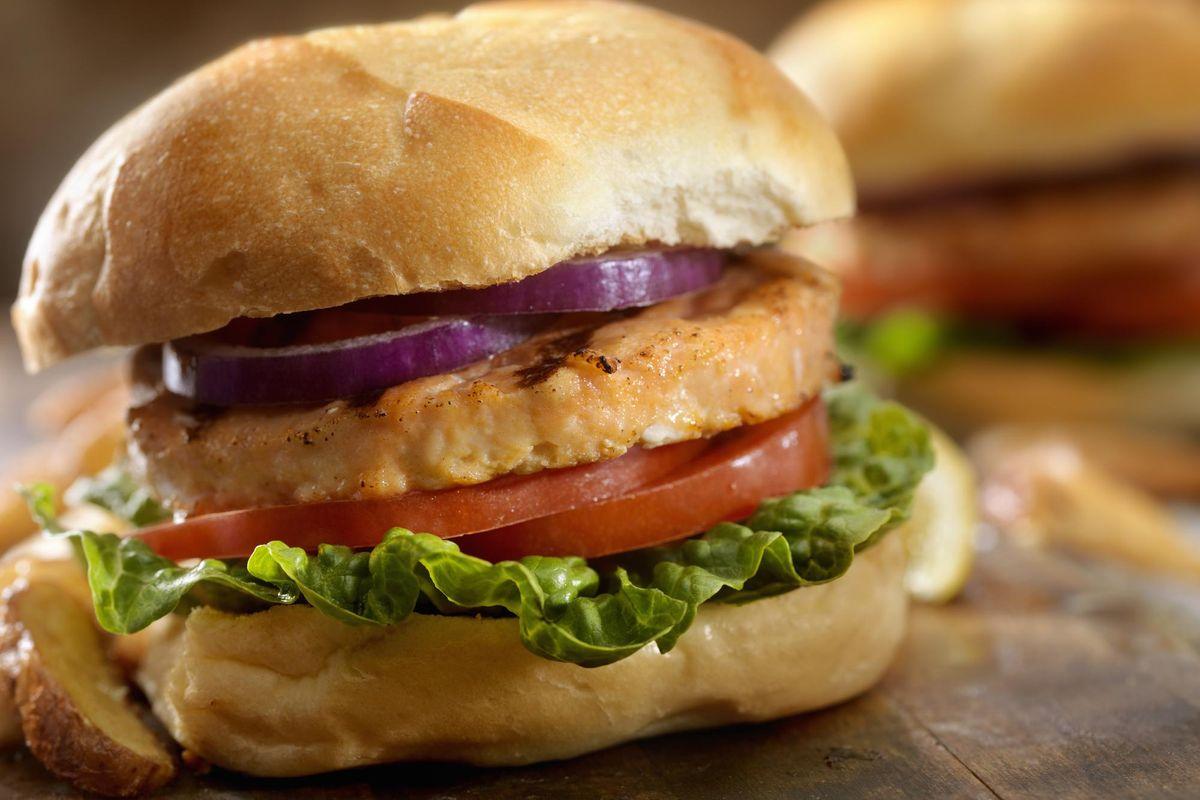 Salmon Burgers and Sweet Potato Oven Fries