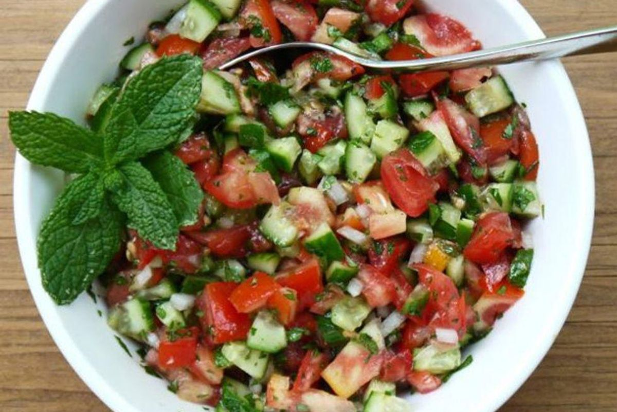 Middle Eastern-Style Cucumber Tomato and Onion Salad