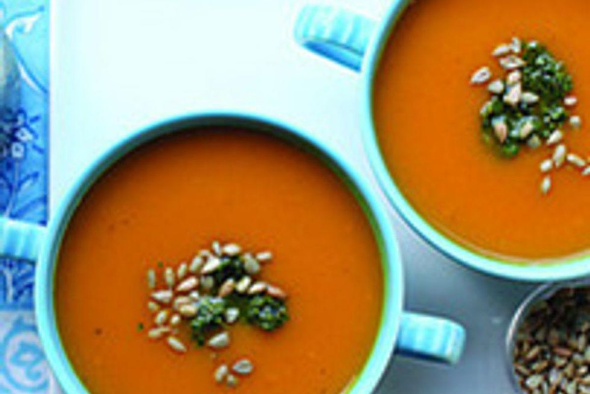 Pumpkin Soup With Parsley–Sunflower Pesto