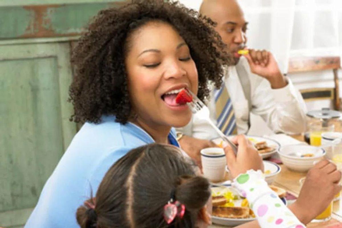 woman eating healthily