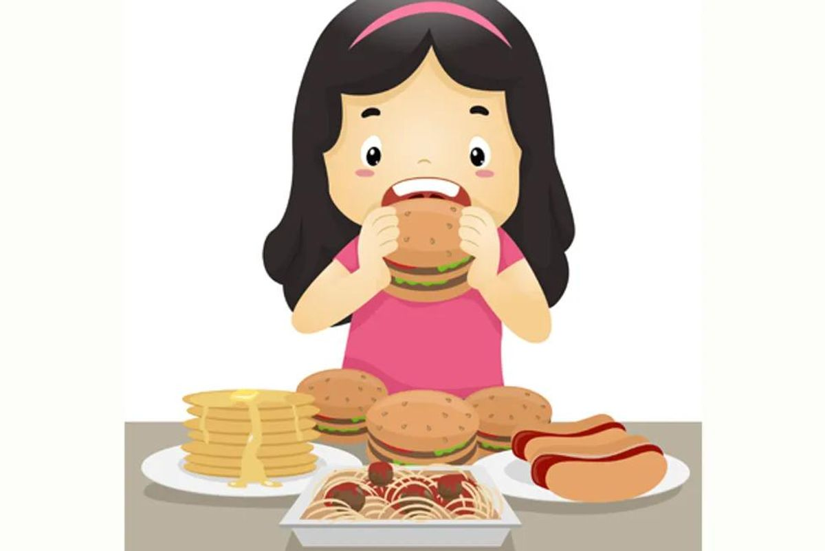 girl eating a lot of food