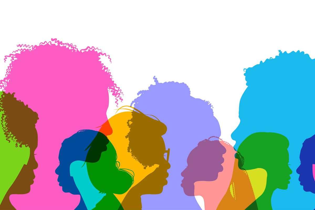 Profile silhouettes African American women