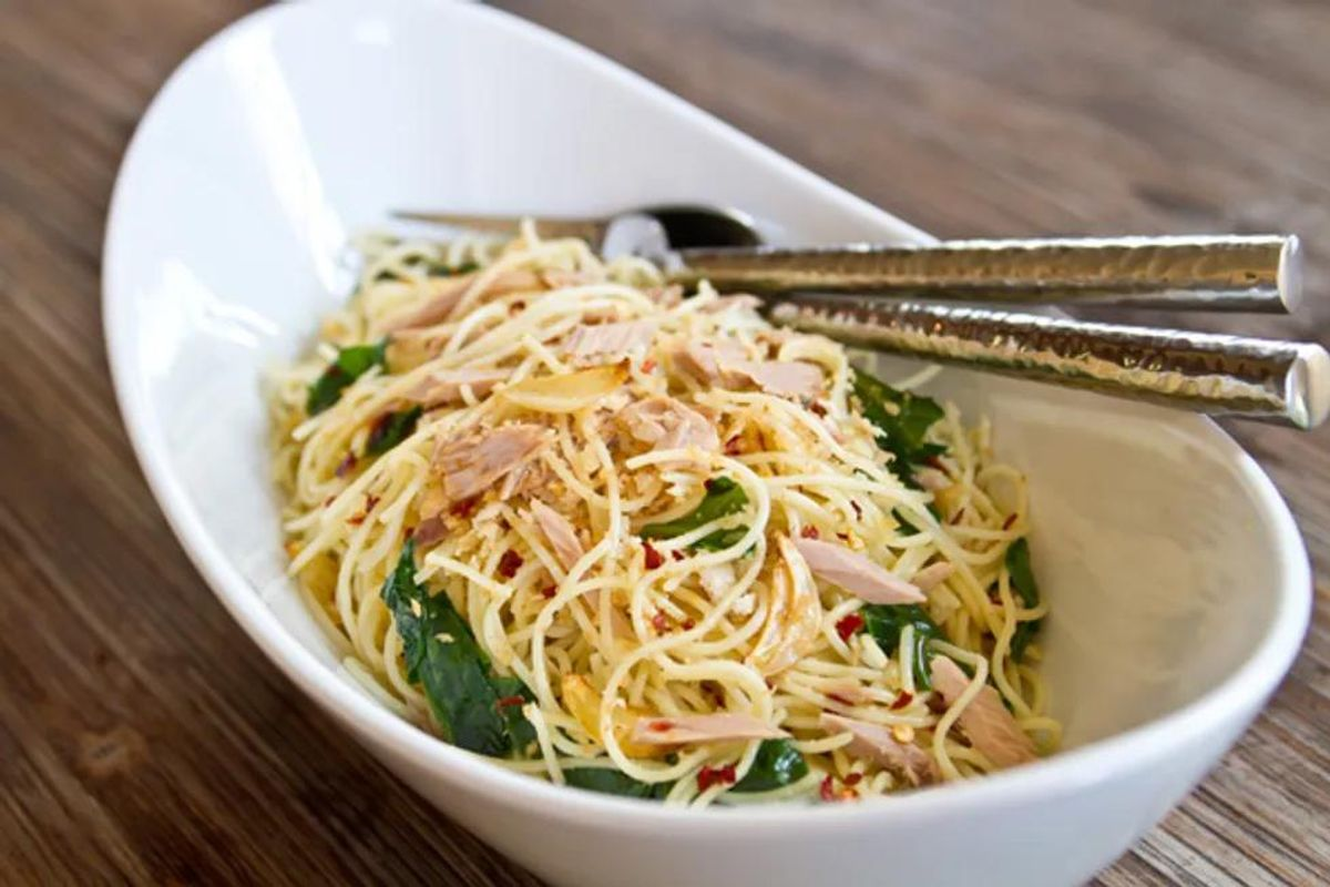 Angel Hair Tuna With Red Chile Flakes, Lemon and Olive Oil