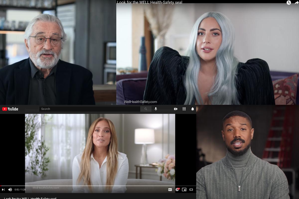 Screenshots from an International Well Building Institutevideoon YouTube, featuring celebrities Robert De Niro, Lady Gaga, Jennifer Lopez and Michael B. Jordan.