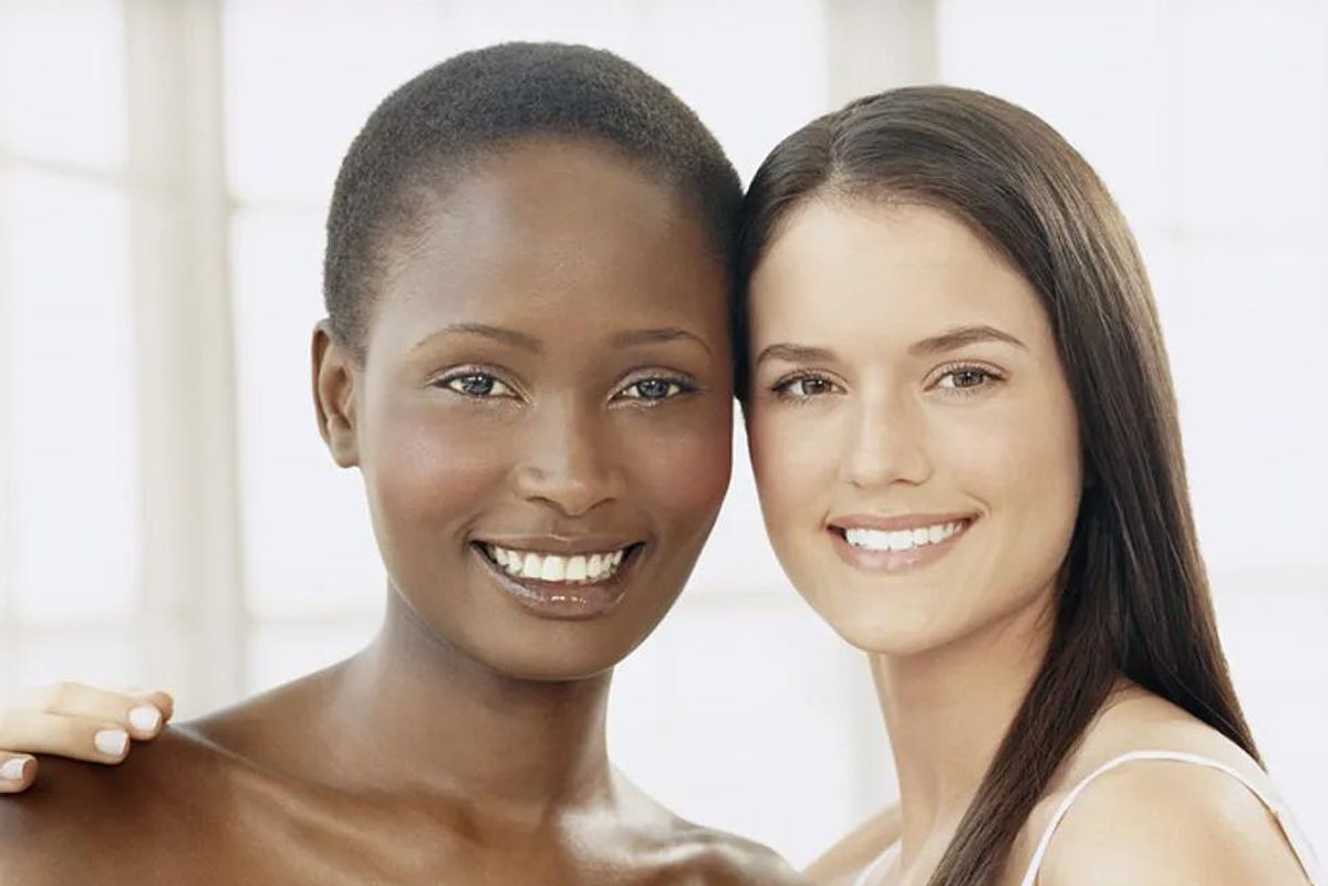 two women with healthy skin