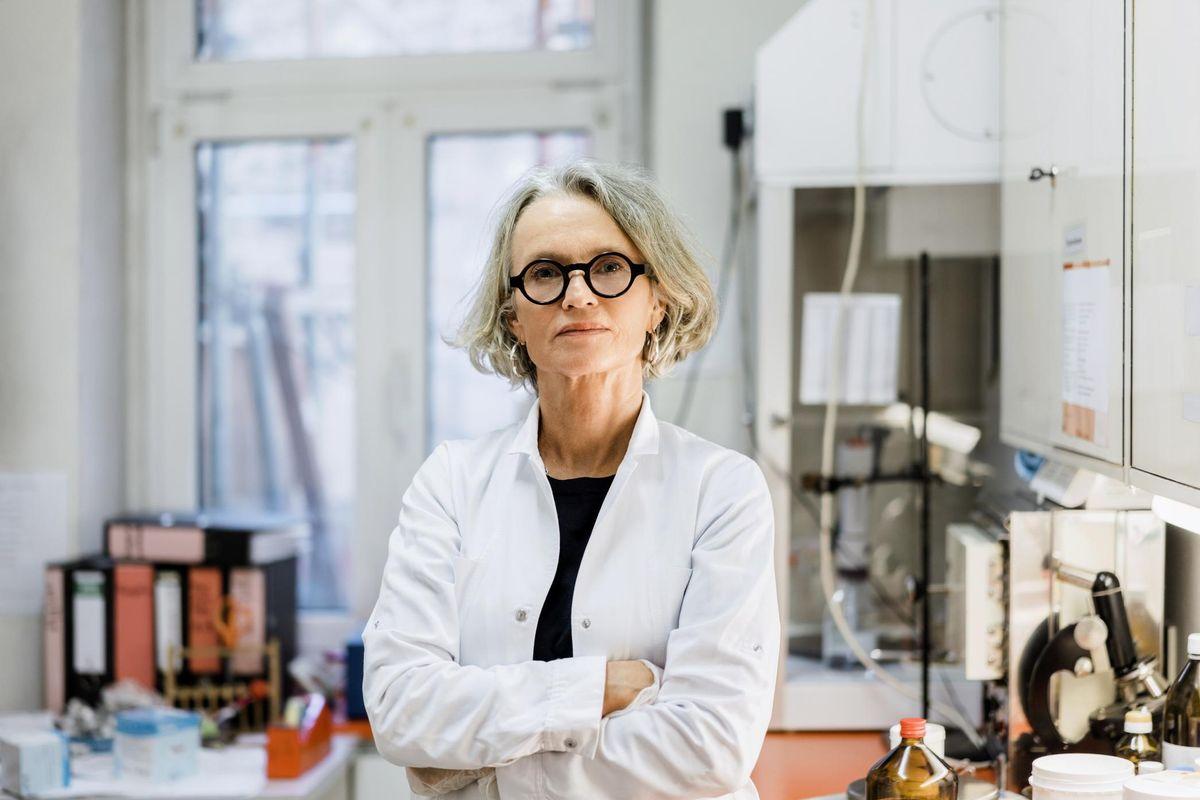 Confident female scientist