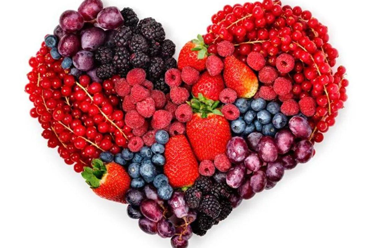 heart shape made of fruit