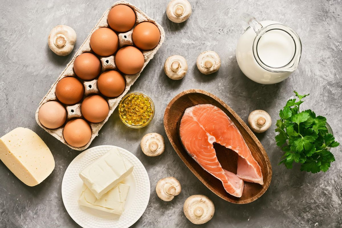 Set of foods rich in vitamin D