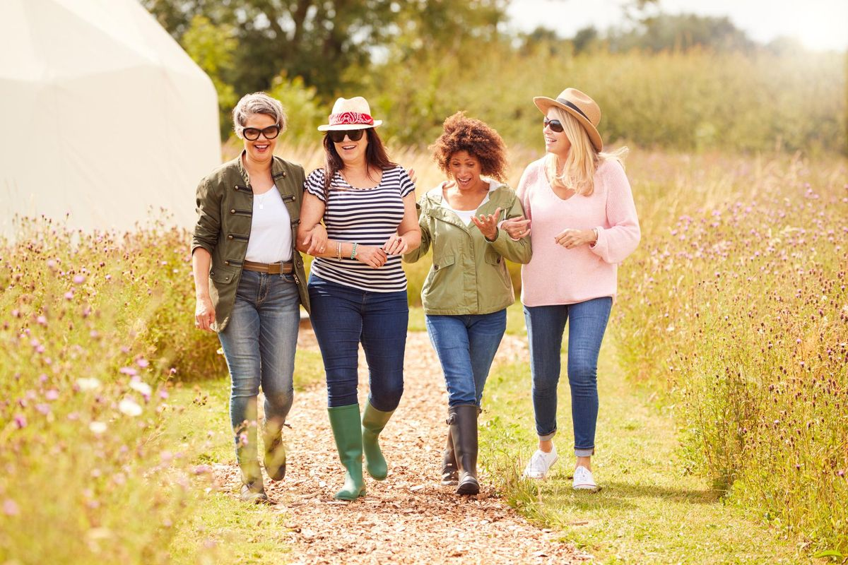 Group Of Mature Female Friends Walking Along Path