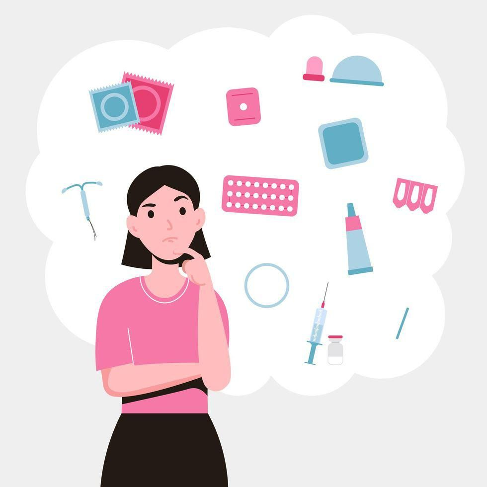 Girl choosing a method of contraception