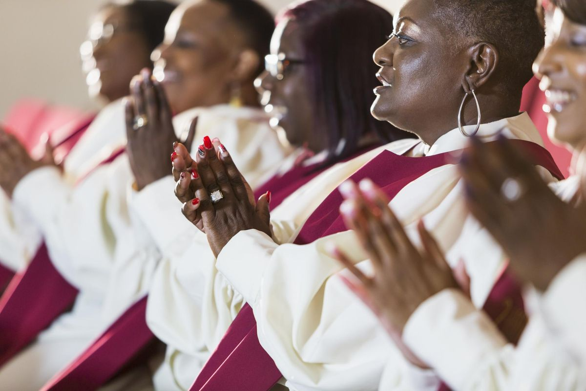 Group of mature black women in church robes