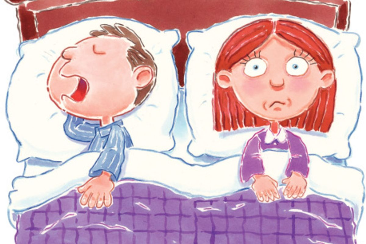illustration of a couple in bed