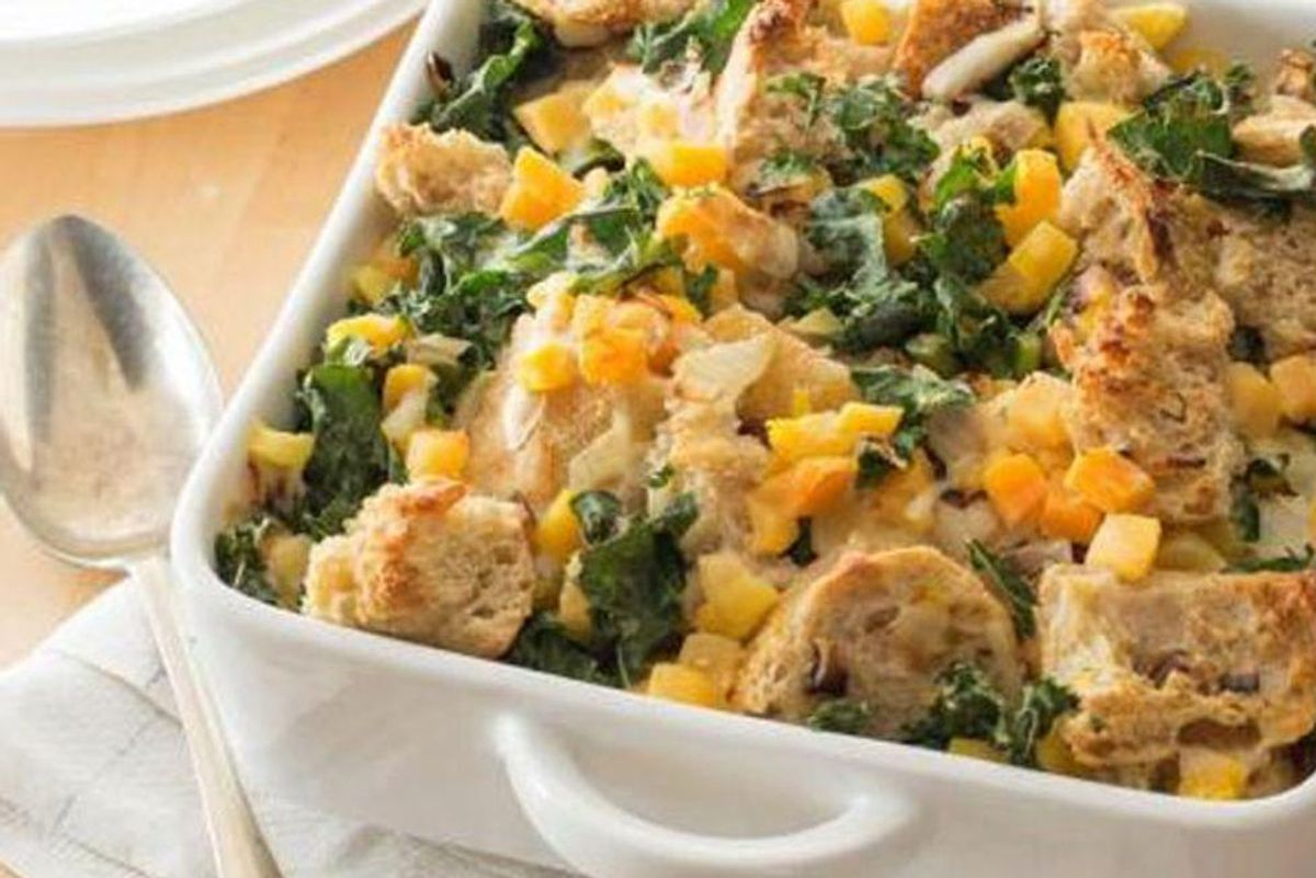 Savory Bread Pudding With Kale and Butternut Squash