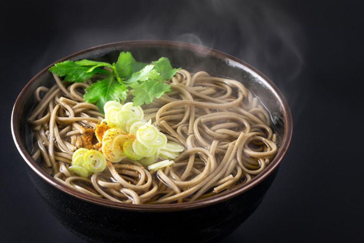 Soba Noodles Soup with Spinach and Mushrooms
