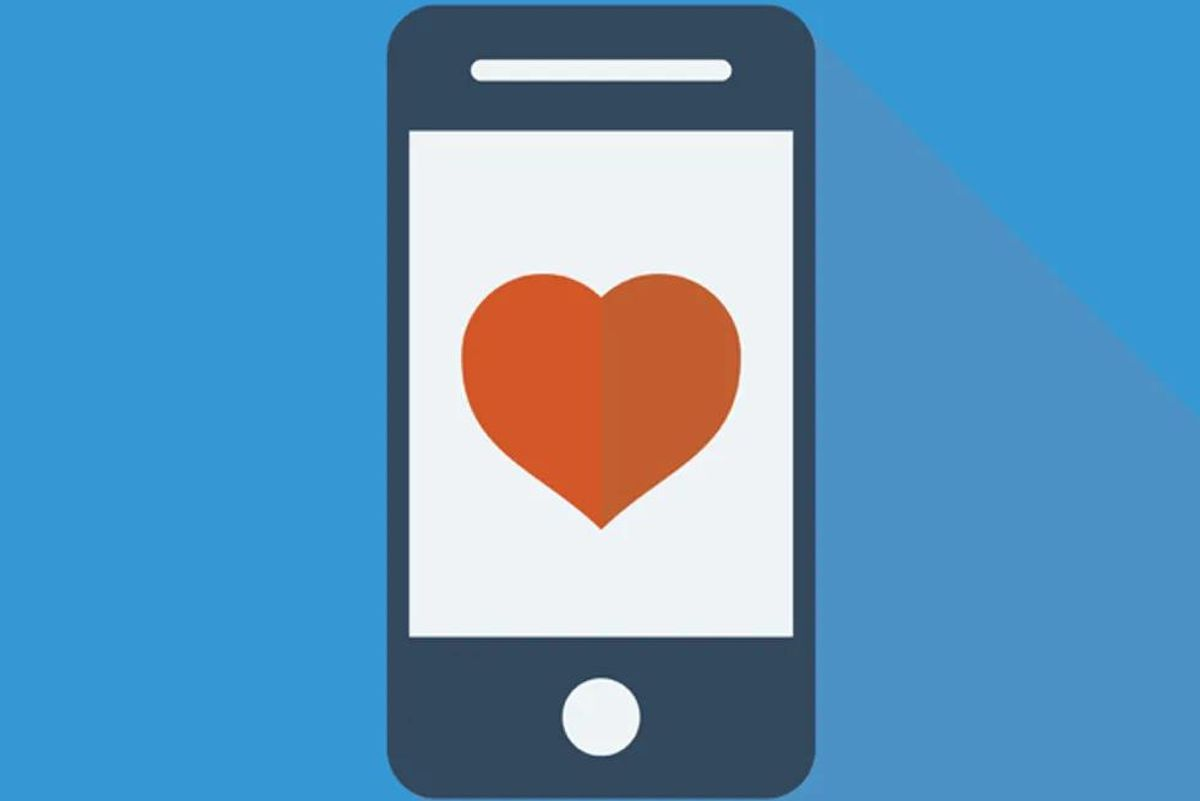 iphone with heart on screen