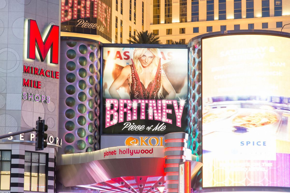 Las Vegas, Nevada, USA - June 7, 2014: Night time street view of the advertising billboards outside of the Planet Hollywood casino and hotel on the Las Vegas Strip in Nevada featuring Britney Spears.