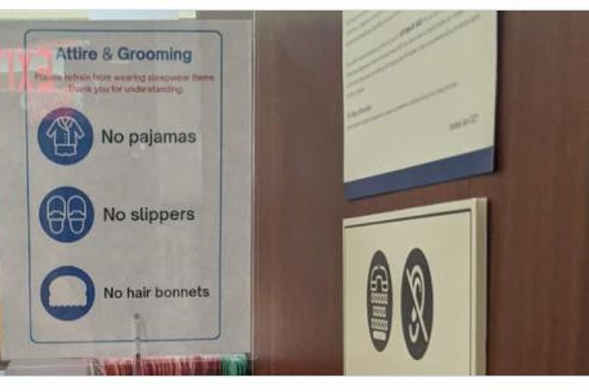 no hair bonnets sign