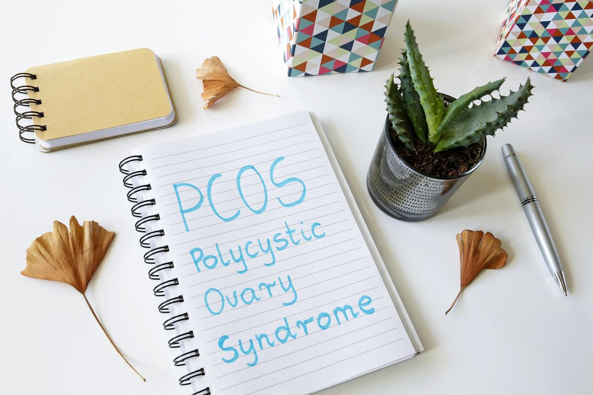 PCOS Polycystic ovary syndrome written in a notebook