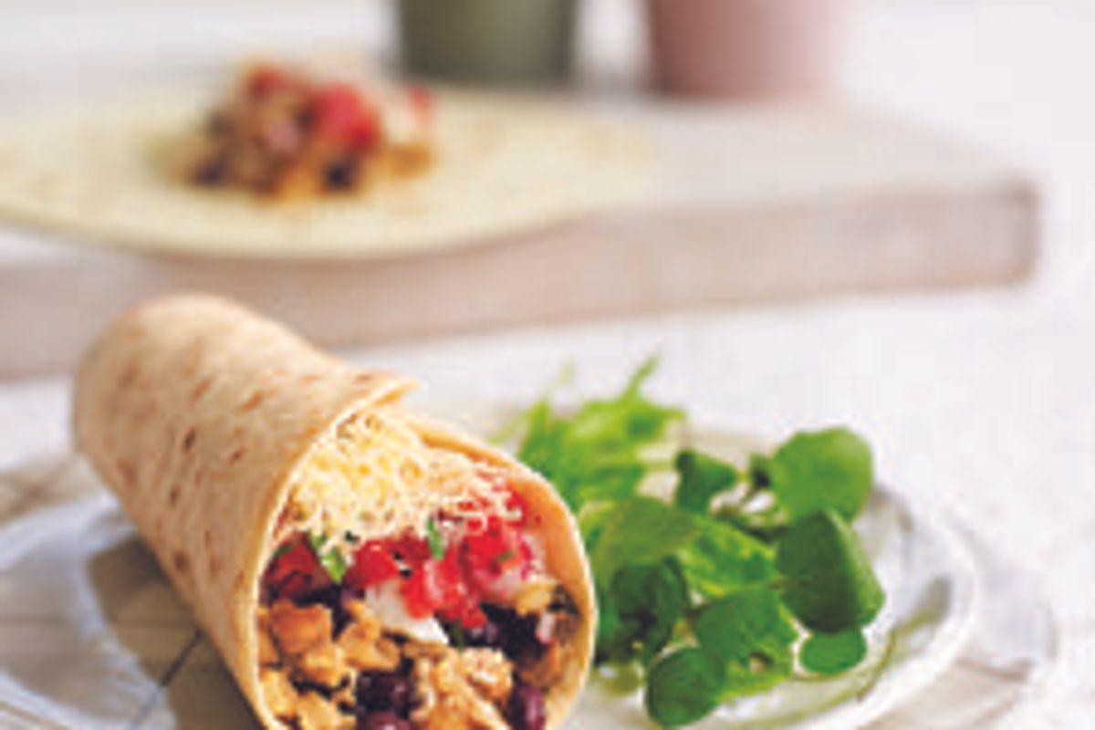 Portobello and Black Bean Breakfast Burritos