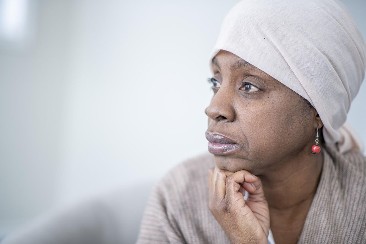Profile Portrait of an African Woman With Cancer