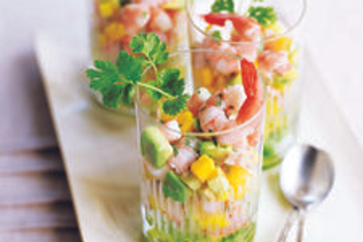Shrimp, Avocado, and Mango Cocktail with Cilantro-lime Dressing