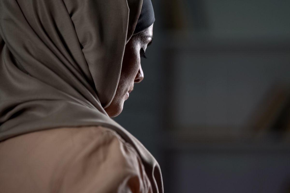 Unhappy arab woman in hijab